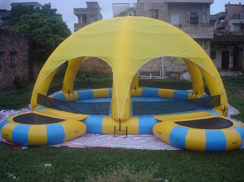 Piscine d 39 eau gonflable avec la tente piscine gonflable de for Tente pour piscine