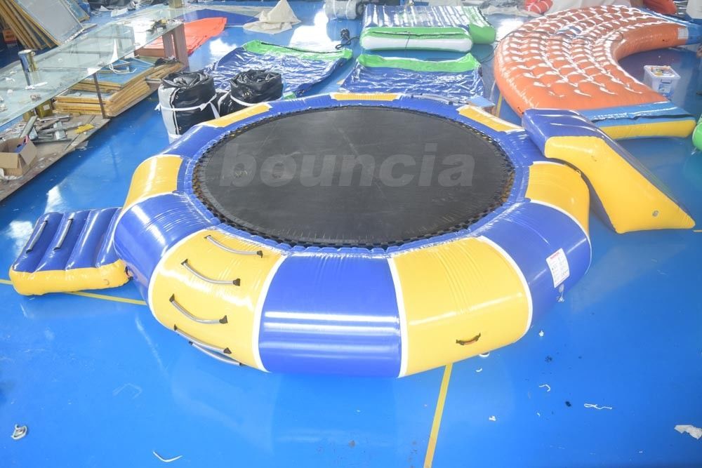 0.9mm PVC Tarpaulin Inflatable Water Trampoline Combo For Water Sports
